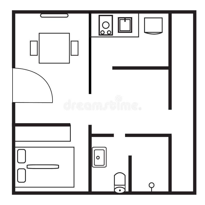 Plan ikona na białym tle Mieszkanie styl ilustracji