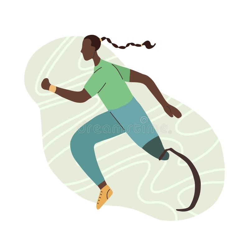 Plan illustration av den afrikanska flickalöparen med det prosthetic benet Joggeridrottskvinna Stiliserad stark idrotts- kvinna m royaltyfri illustrationer