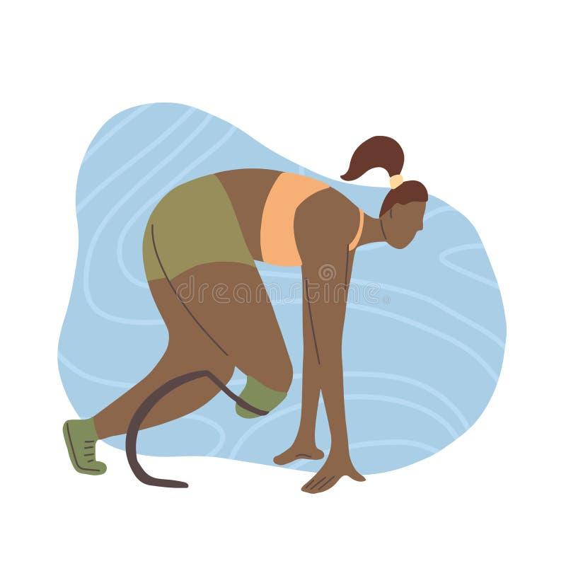 Plan illustration av den afrikanska flickalöparen med det prosthetic benet Maratonlöpare i början Stiliserad stark idrotts- kvinn royaltyfri illustrationer
