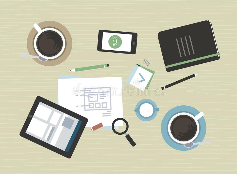 Plan illustration av det moderna affärsmötet royaltyfri illustrationer