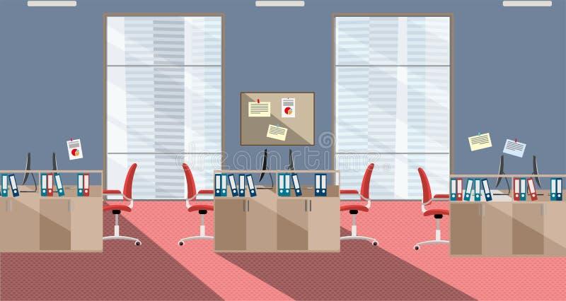 Plan illustration av det moderna kontoret som är inre med stora fönster i skyskrapa med möblemang och datorer i röda och gråa fär vektor illustrationer