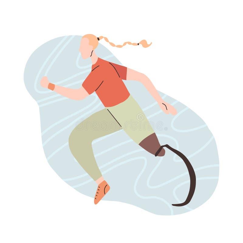 Plan illustration av flickalöparen med det prosthetic benet Joggeridrottskvinna Stiliserad stark idrotts- kvinna med handikapp sp stock illustrationer