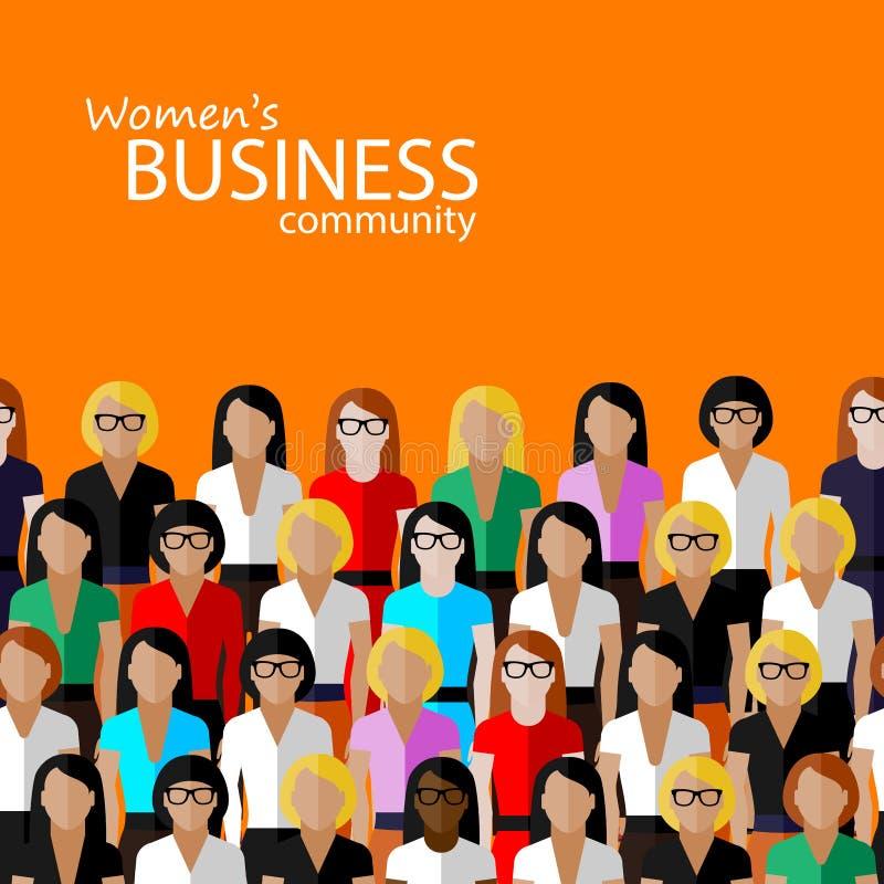 Plan illustration av kvinnanäringsliv stock illustrationer