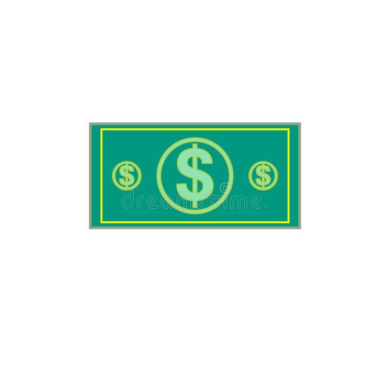 Plan illustration av pengar Gräsplan för dollarvalutasedel Dollar räkning, pengarsedel Vektordollarräkning som isoleras på vitbac vektor illustrationer