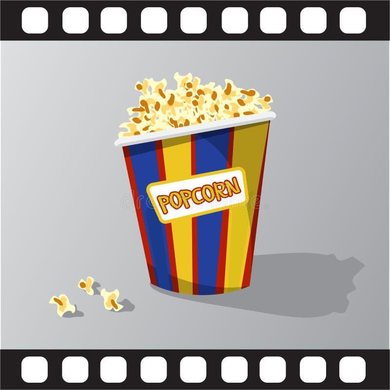Plan illustration av popcorn vektor illustrationer