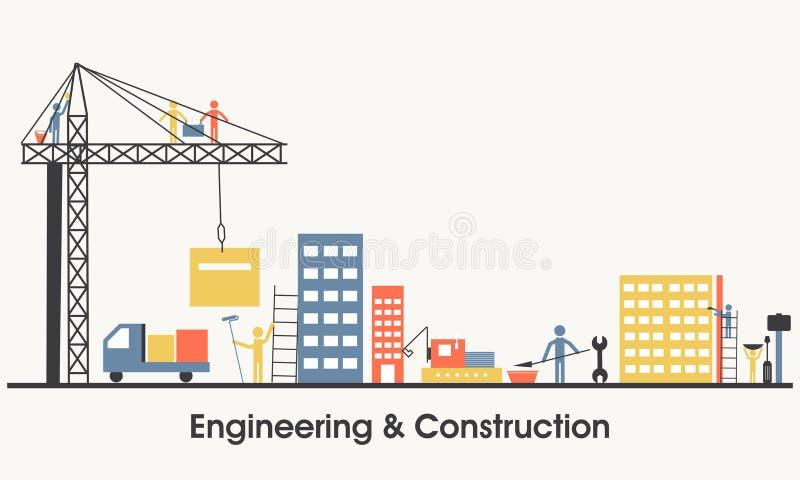 Plan illustration av teknik och konstruktion vektor illustrationer