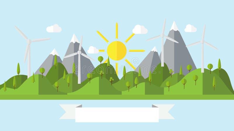 Plan illustration för ö för vektorekologilandskap med vindkraftväxten stock illustrationer