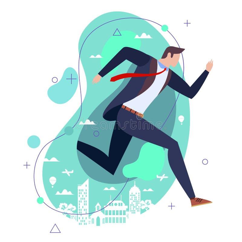 Plan illustration för begrepp Affärsman i dräkten som kör mot stadsbakgrunden vektor illustrationer