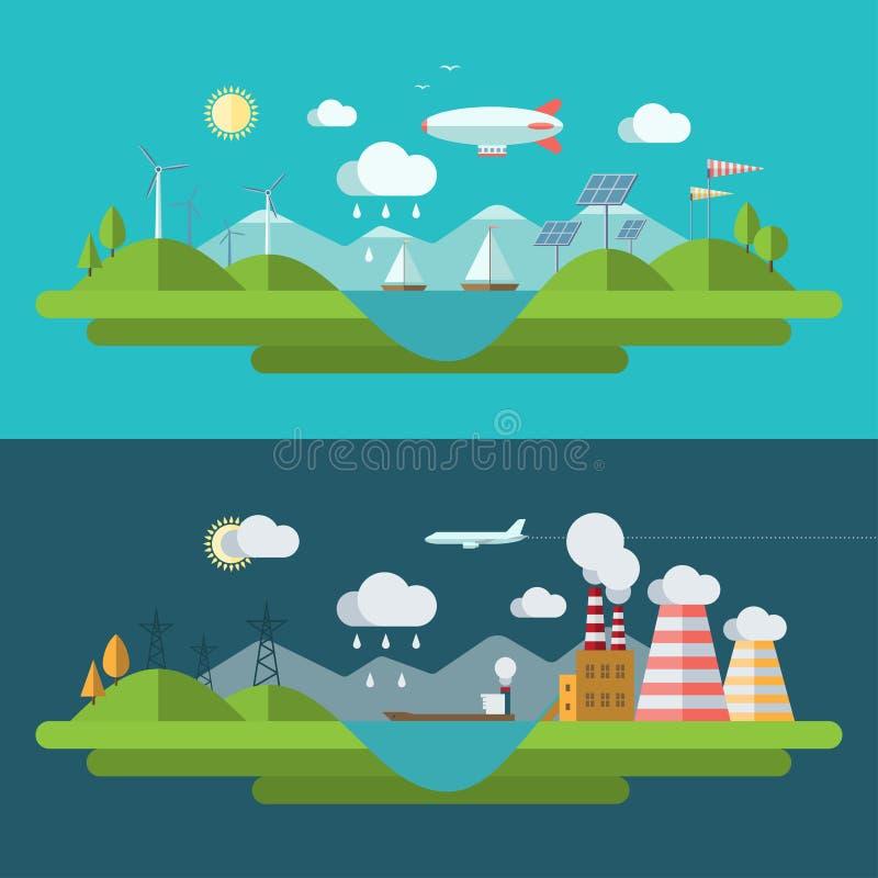 Plan illustration för begrepp för designvektorekologi stock illustrationer