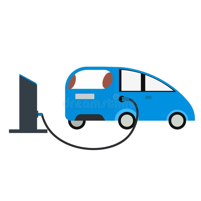 Plan illustration för bensinpump och för blå bil vektor illustrationer