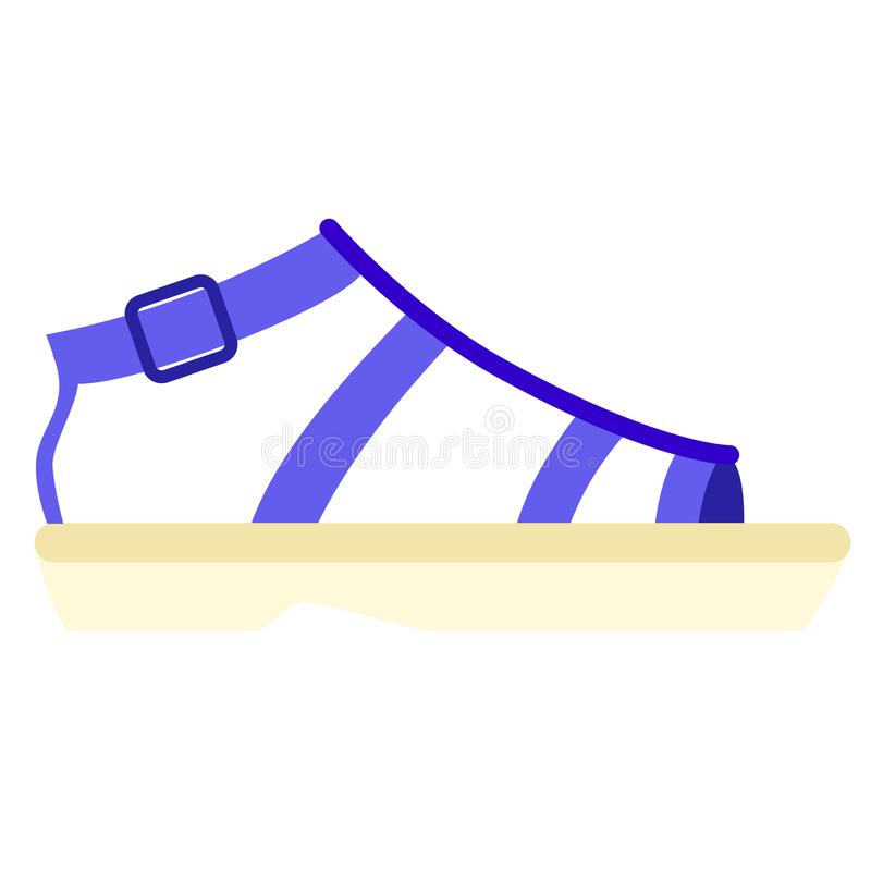 Plan illustration för blå sandal på vit stock illustrationer