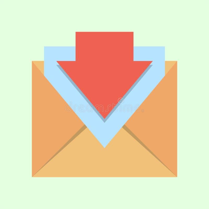 Plan illustration för bokstav för vektorsymbolskuvert arkivfoton