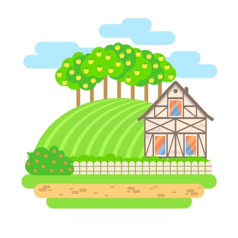 Plan illustration för designvektorlandskap Byhus med fi royaltyfri illustrationer