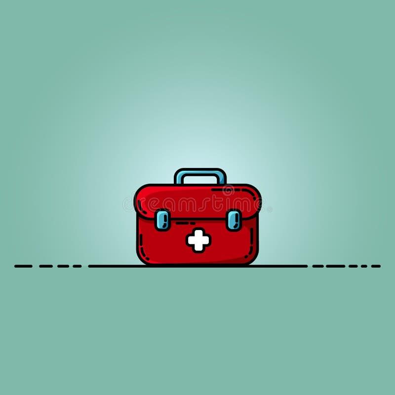 Plan illustration för första hjälpensatsask Medicinbröstkorg med det vita korset vektor illustrationer