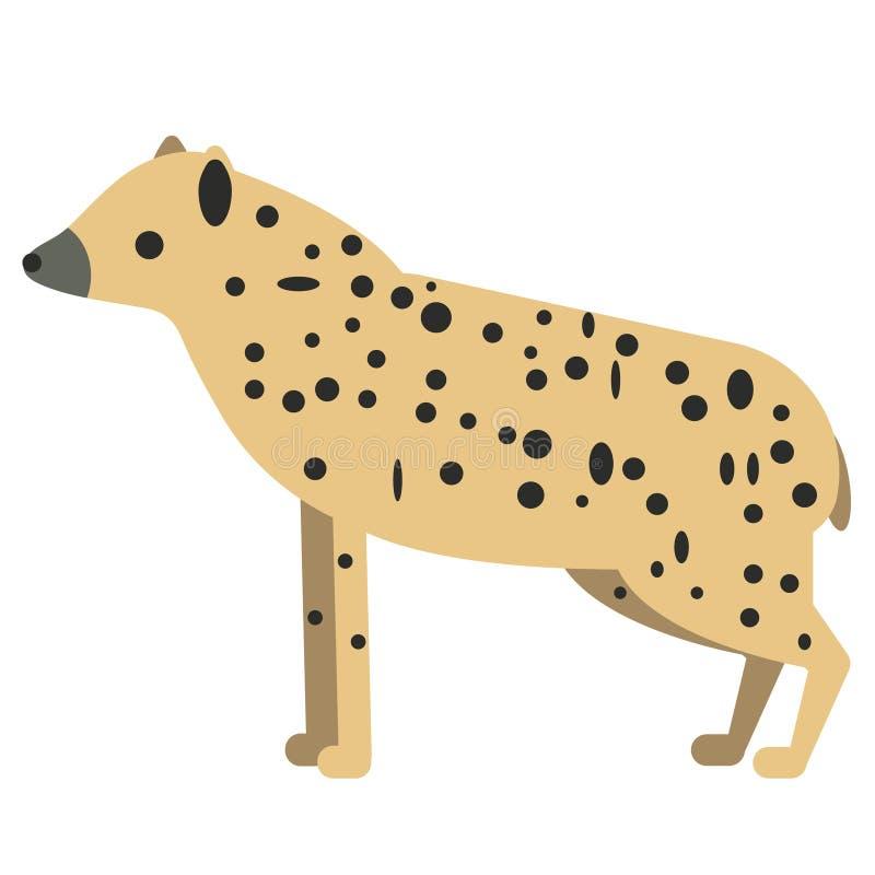 Plan illustration för hyena på vit stock illustrationer
