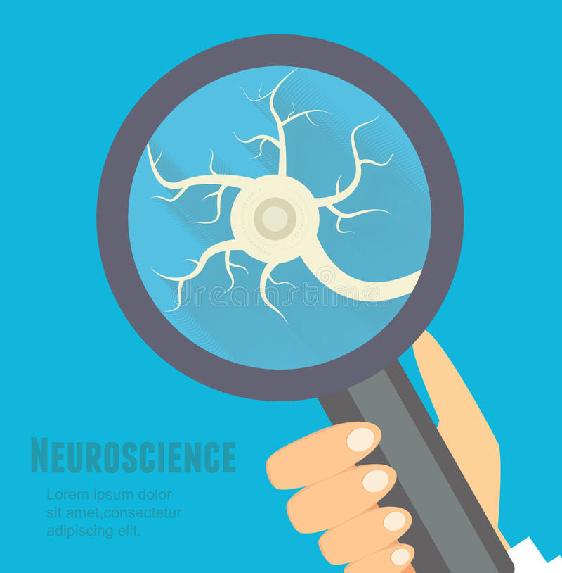 Plan illustration för Neuroscience Nervsystemforskningbegrepp royaltyfri illustrationer