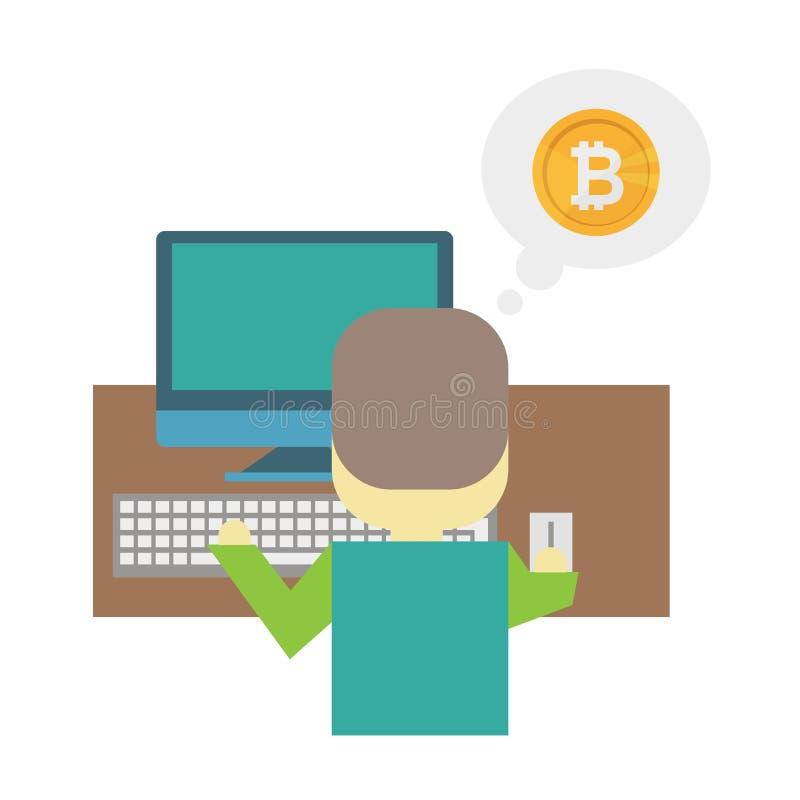 Plan illustration för tecknad film - bryta bitcoin En nerd för ung man sitter bak ett skrivbord stock illustrationer