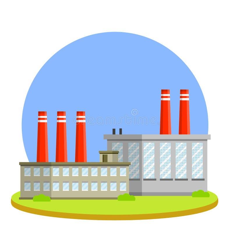 Plan illustration för tecknad film - fabriksbyggnad med rör vektor illustrationer