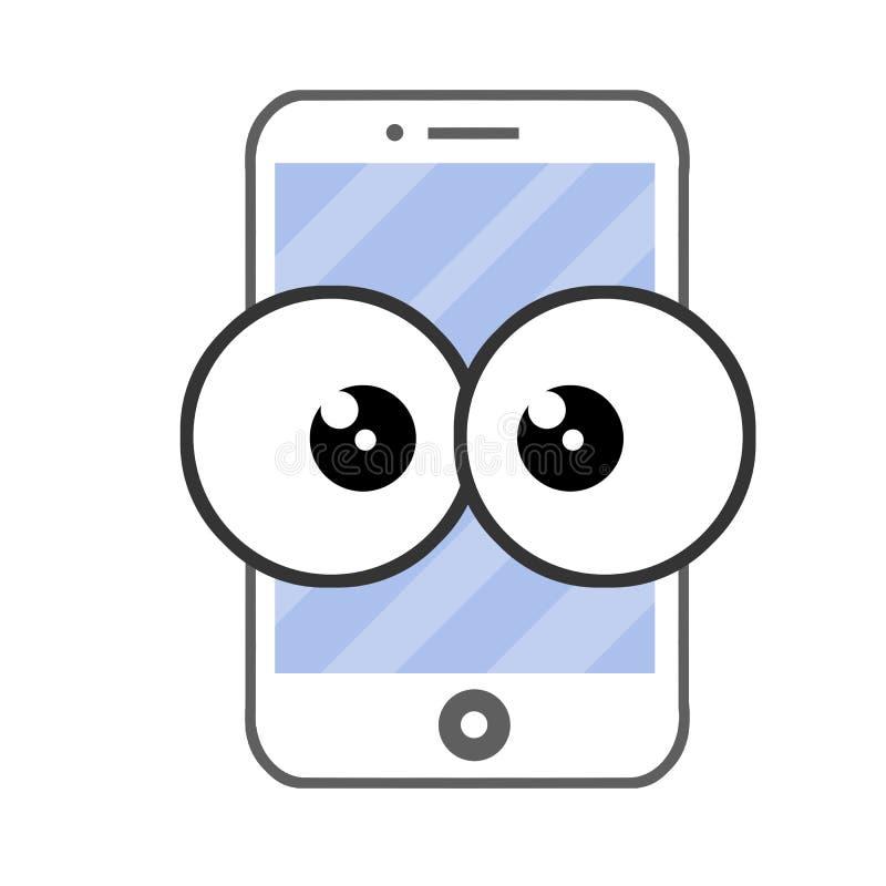 Plan illustration för tecknad film - mobiltelefon med stora ögon stock illustrationer