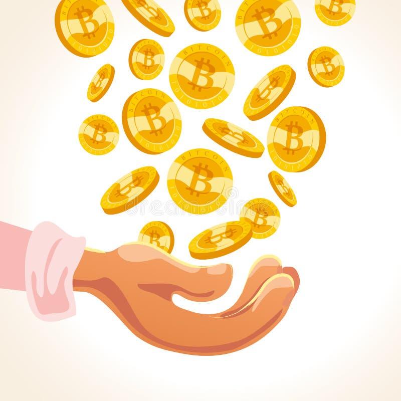 Plan illustration för vektor av den mänskliga handen som rymmer många fallande bitcoins som faller ner isolerade på vitbaksidajor royaltyfri illustrationer