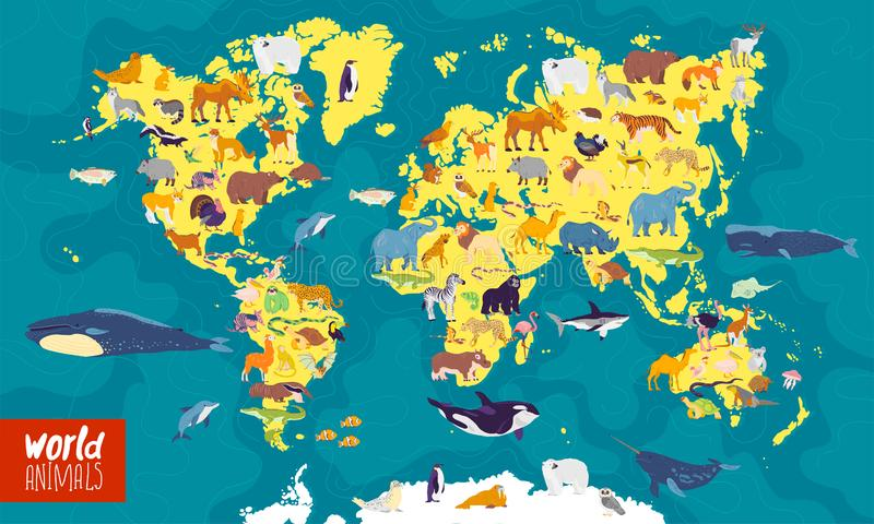 Plan illustration för vektor av världskartan med havet, hav, kontinenter och lokala djur & växter royaltyfri illustrationer