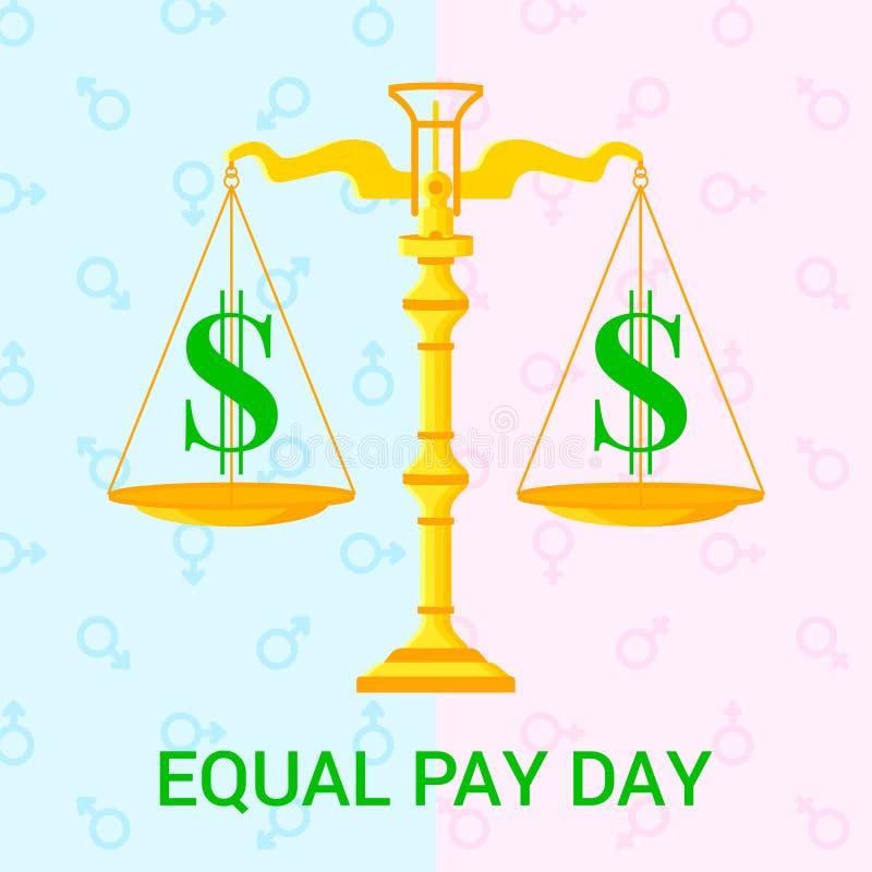 Plan illustration för vektor för dag för jämbördig lön stock illustrationer