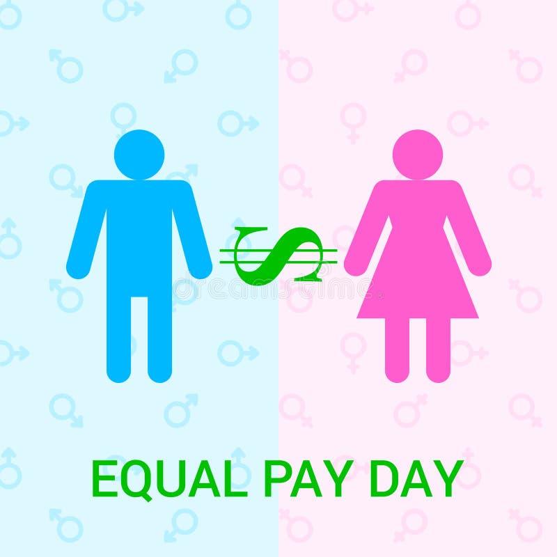 Plan illustration för vektor för dag för jämbördig lön royaltyfri illustrationer