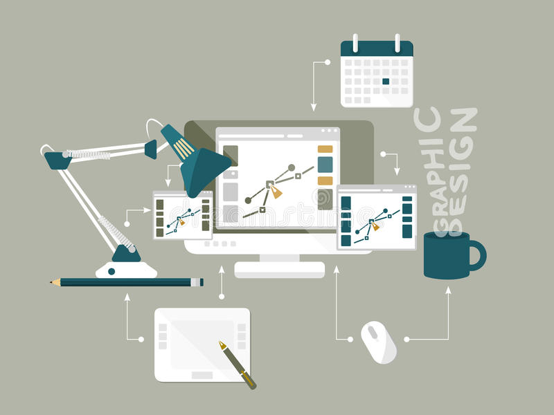 Plan illustration för vektor för grafisk design för symboler stock illustrationer