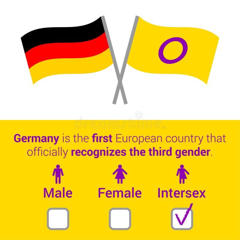 Plan illustration för vektor med text, intersex och tyska flaggor, q royaltyfri illustrationer