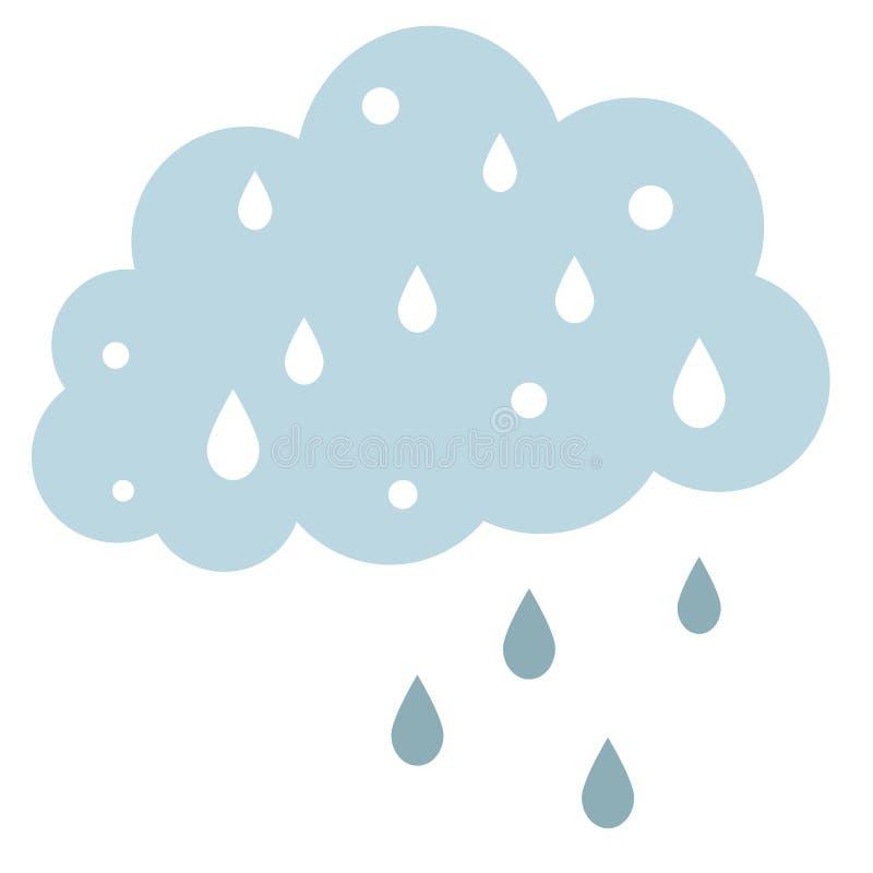 Plan illustration f?r regnigt moln p? vit royaltyfri illustrationer