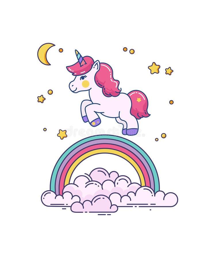 Plan illustration med den gulliga enhörningen och regnbågen vektor illustrationer