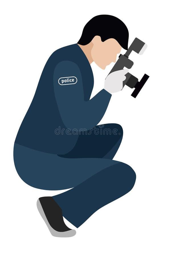 Plan illustration Mordutredning Rättsmedicinsk forskare på en vit bakgrund vektor illustrationer