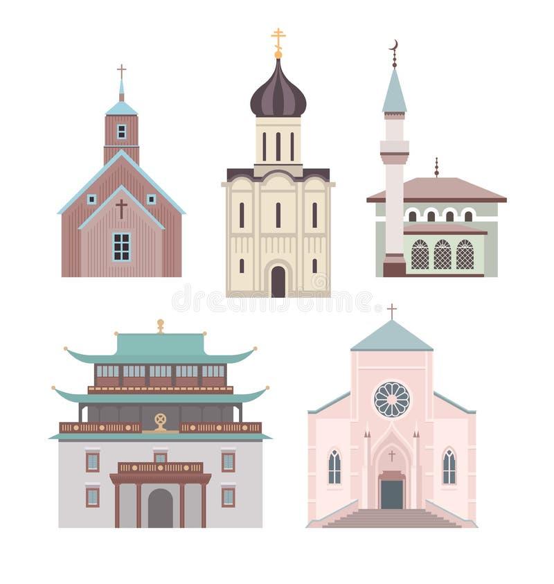 Plan illustrationsamling för kyrka royaltyfri illustrationer
