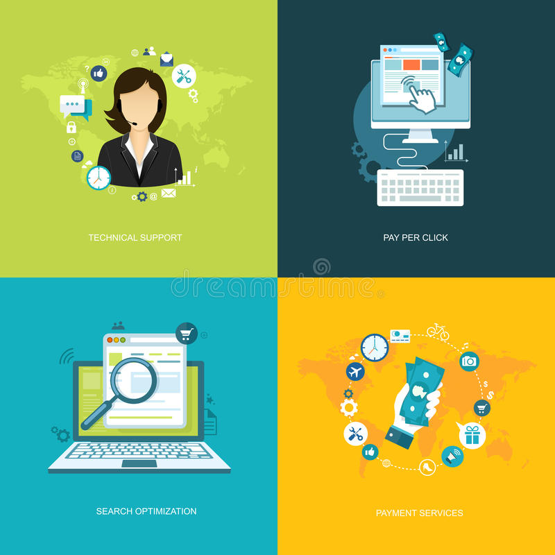 Plan internetbaneruppsättning Online-service, betalningservice, hav stock illustrationer