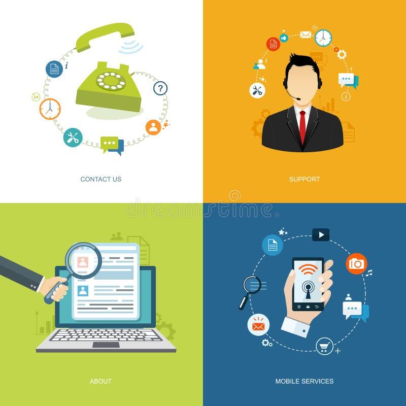 Plan internetbaneruppsättning Online-service, om oss, mobil servi vektor illustrationer