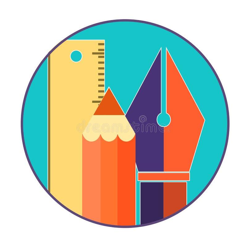 Plan isola för begrepp för design för rengöringsduk för symboler för designhjälpmedel royaltyfri illustrationer