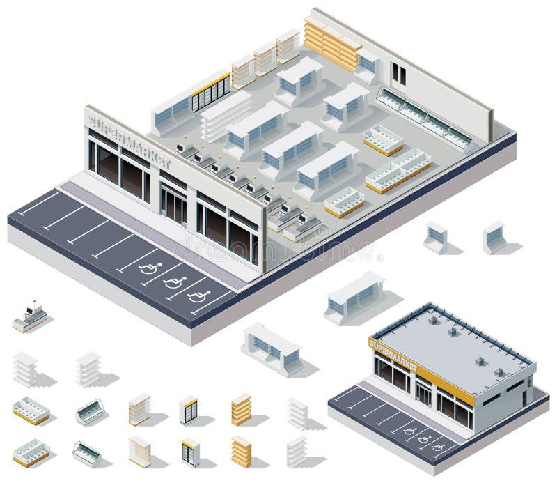 Plan isométrique d'intérieur de supermarché du vecteur DIY illustration libre de droits