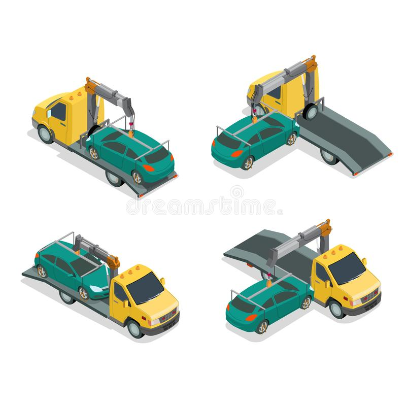 Plan isometrisk auto reparation s för bilbärgningsbilsabotör stock illustrationer