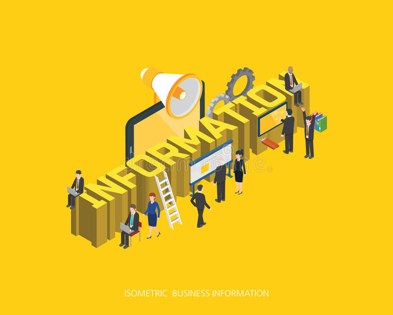 Plan isometrisk för informationsbegrepp om illustration 3d design, abstrakt stads- modern stil, högkvalitativ affärsserie stock illustrationer