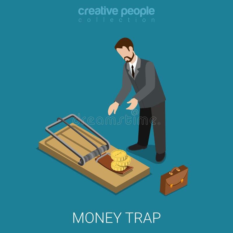 Plan isometrisk för pengarfinans för vektor 3d fälla för lån för kreditering för bankrörelsen stock illustrationer