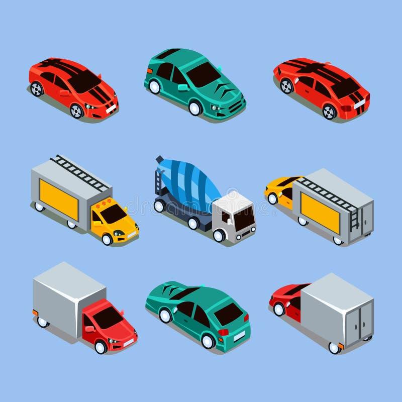 Plan isometrisk högkvalitativ transport för stad 3d stock illustrationer