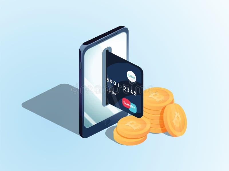 Plan isometrisk illustration av högen av bitcoins, telefonen med en kreditkort i springan Överföringen royaltyfri illustrationer
