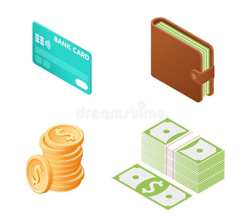 Plan isometrisk illustration av pengarsymbolsuppsättningen royaltyfri illustrationer