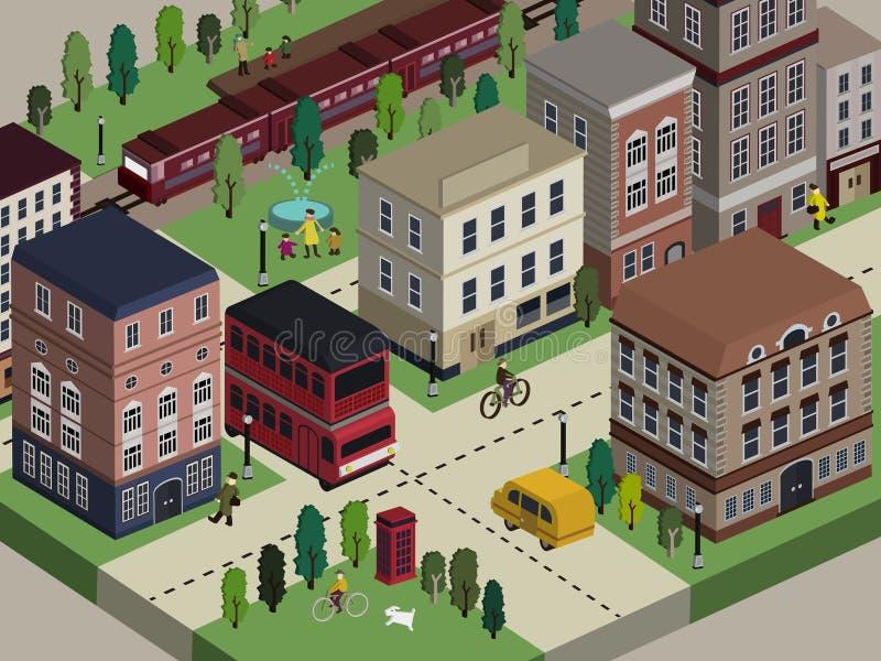 Plan isometrisk illustration för stadsliv 3d vektor illustrationer