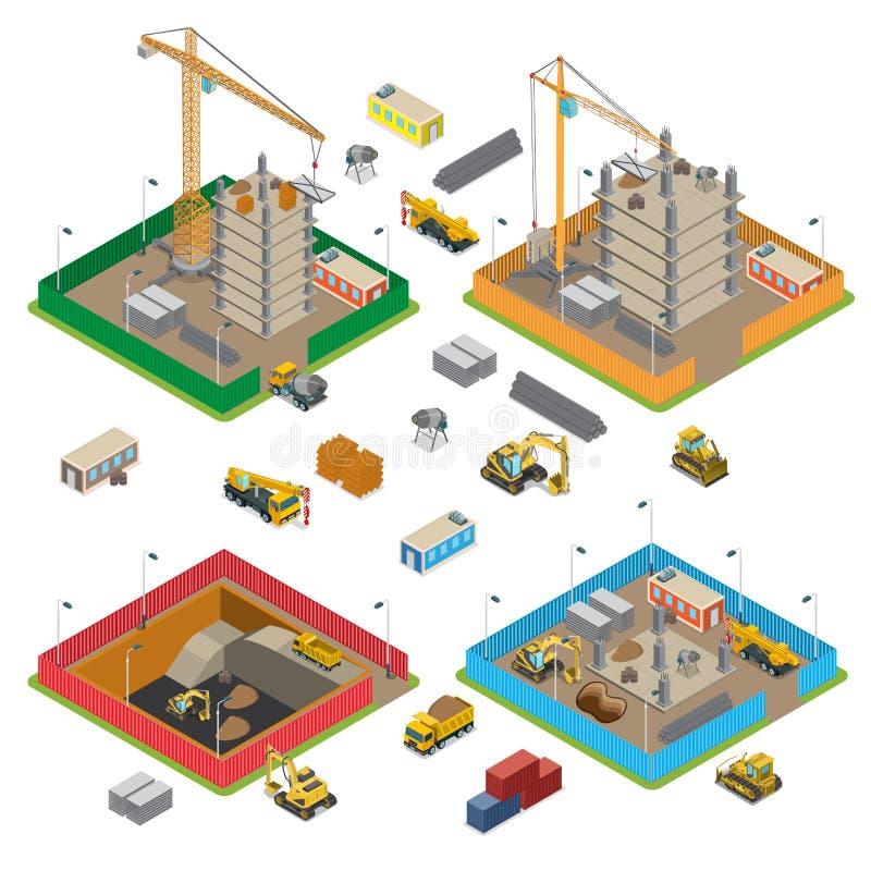Plan isometrisk konstruktionsobjektuppsättning CR royaltyfri illustrationer