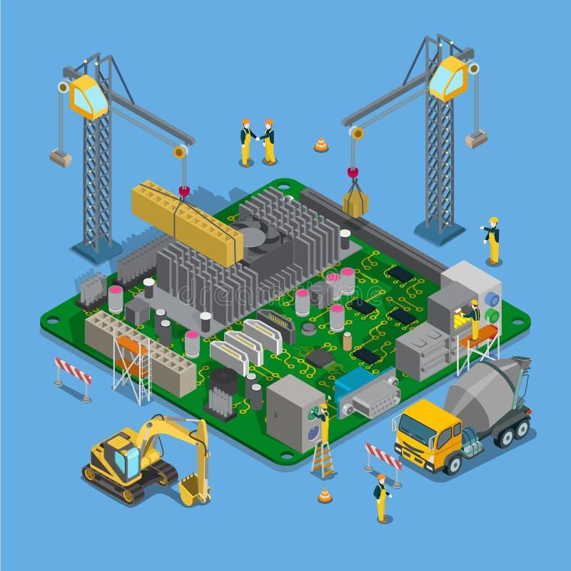 Plan isometrisk konstruktionsobjektuppsättning CR stock illustrationer