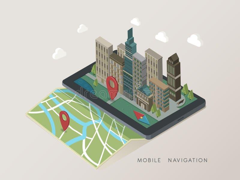 Plan isometrisk mobil illustration för navigering 3d vektor illustrationer