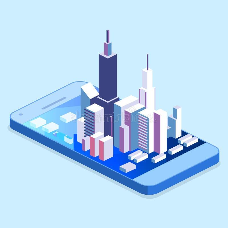 Plan isometrisk mobil navigering 3d kartlägger informationsdiagrammet med markören stock illustrationer
