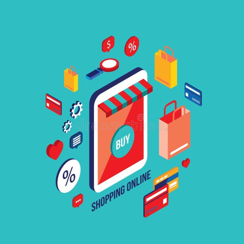 Plan isometrisk shopping och e-kommers för begrepp för design 3d vektor illustrationer