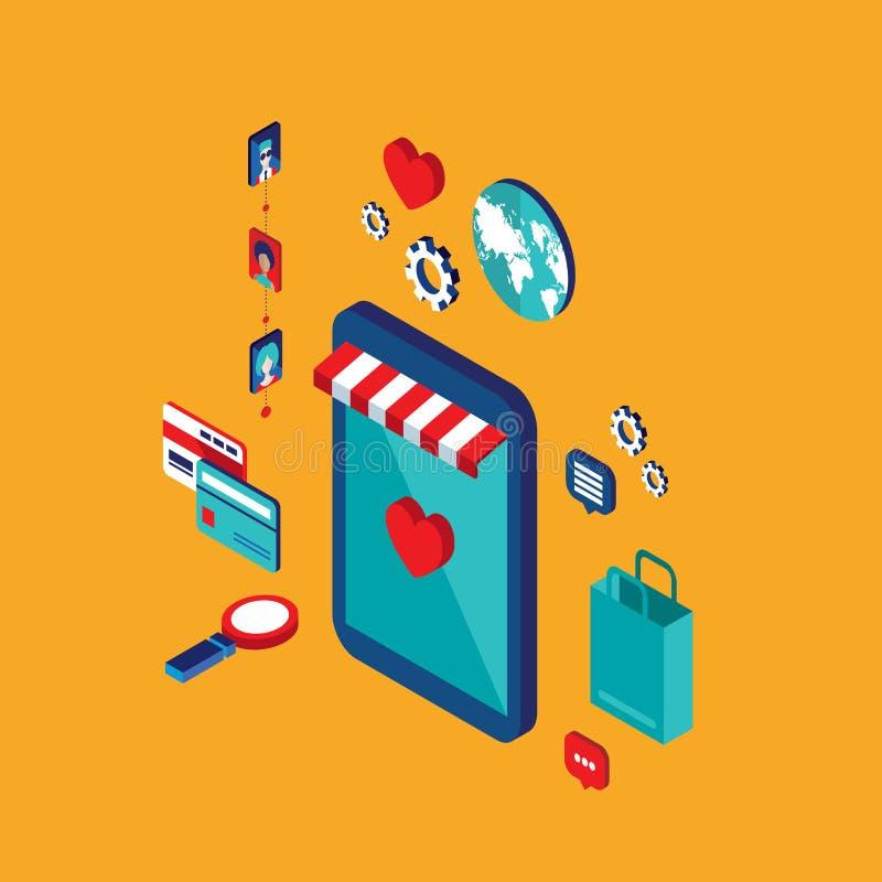 Plan isometrisk shopping och e-kommers för begrepp för design 3d royaltyfri illustrationer